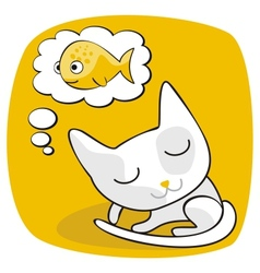 Cute Cat Dreaming vector image vector image