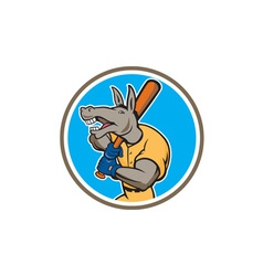 Donkey Baseball Player Batting Circle Cartoon vector image
