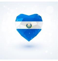 Flag of el salvador in shape diamond glass heart vector