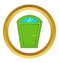 Green arched door icon cartoon style vector