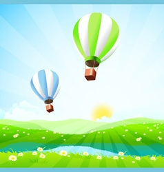 Green Landscape with Lake and Hot Air Balloons vector image vector image