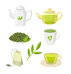 green tea ceremony set flat isolated vector image