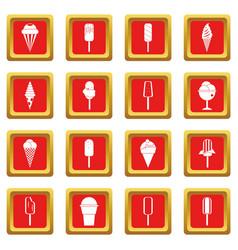 Ice cream icons set red vector