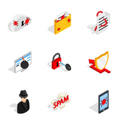 Internet security icons isometric 3d style vector