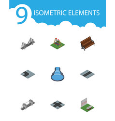 Isometric architecture set of highway aiming game vector