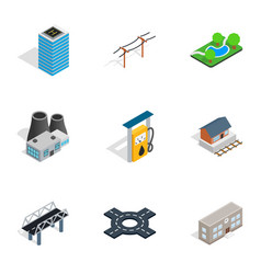 modern city icons isometric 3d style vector image