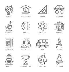Monochrome school icon set vector