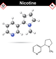 Nicotine - natural alkaloid and tobacco component vector