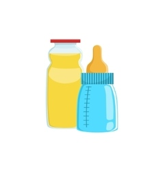 Orange juice and baby bottle supplemental baby vector