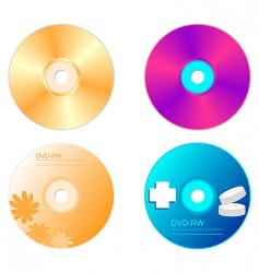 realistic illustration set dvd disk vector image