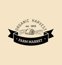 Retro farm fresh logotype organic premium vector