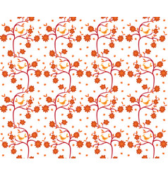 seamless birds and flowers pattern vector image