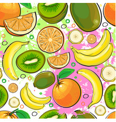 seamless pattern different fruits summer ornament vector image