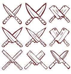 Set of crossed kitchen knives vector image