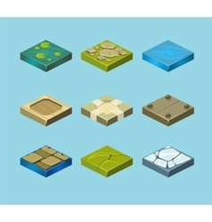 Set of ground surfaces Grass rocks and water vector image vector image