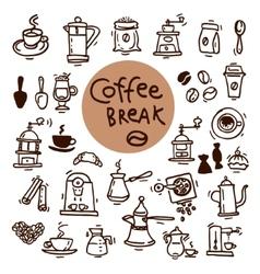 Sketch doodle coffee icon set hand drawn vector