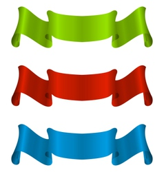 Three colorful ribbon tape isolated on white vector image