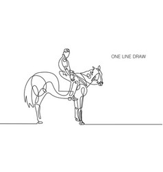 Trendy continuous one line rider on horseback vector