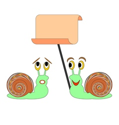 Two funny cartoon snails with a big blank paper vector image vector image