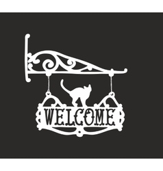 Vintage sign with black cat for outdoor vector