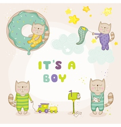 Baby cat set - baby shower or arrival cards vector