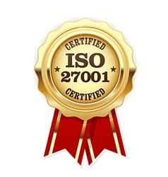 ISO 27001 standard certified rosette - Information vector image