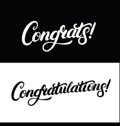 congrats and congratulations hand written vector image
