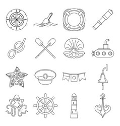 Nautical icons set outline style vector