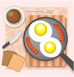 Scrambled eggs with sausages vector