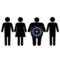 Diabetes targeting overweight people vector