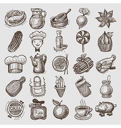 25 sketch doodle icons food vector