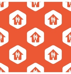 Orange hexagon family house pattern vector