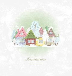 Vintage invitation card with winter rural scenery vector