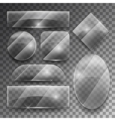 Transparent glass plates set vector
