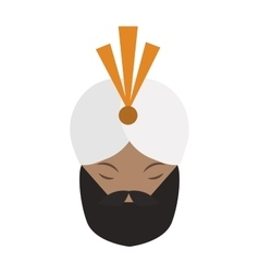 Portrait of casually indian face young beard vector