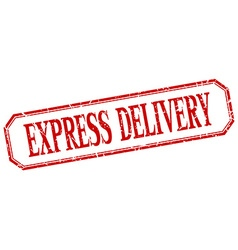 Express delivery square red grunge vintage vector