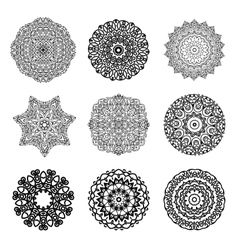 Set mandalas round ornament indian or islamic vector