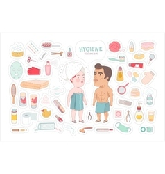 After shower bathroom stickers set dodo people vector