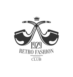Gentleman club label design with crossed pipes vector