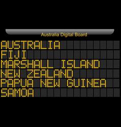 Australia country digital board information vector