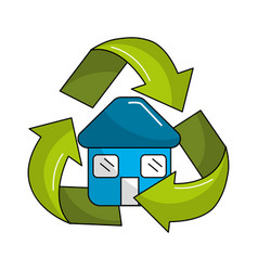 Blue house inside of recycling symbol vector