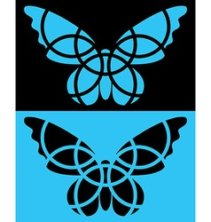 Butterfly icon isolated reversed colors applied vector