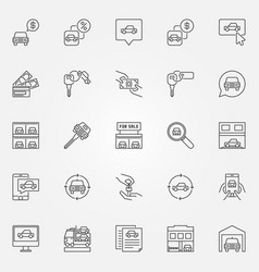 Buying a car icons set vector