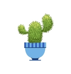 Cactus With Two Branches In A Pot vector image