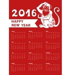 Calendar 2016Chinese zodiac monkeyVertical vector image