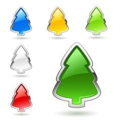 Christmas tree web buttons set vector image