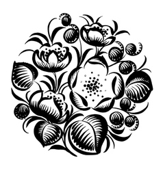 decorative silhouette floral circle vector image