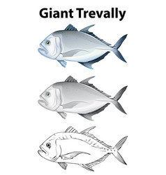 doodle character for giant trevally vector image