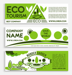 Eco travel and tourism banner template design vector