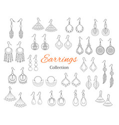 fashionable earrings collection hand drawn vector image vector image